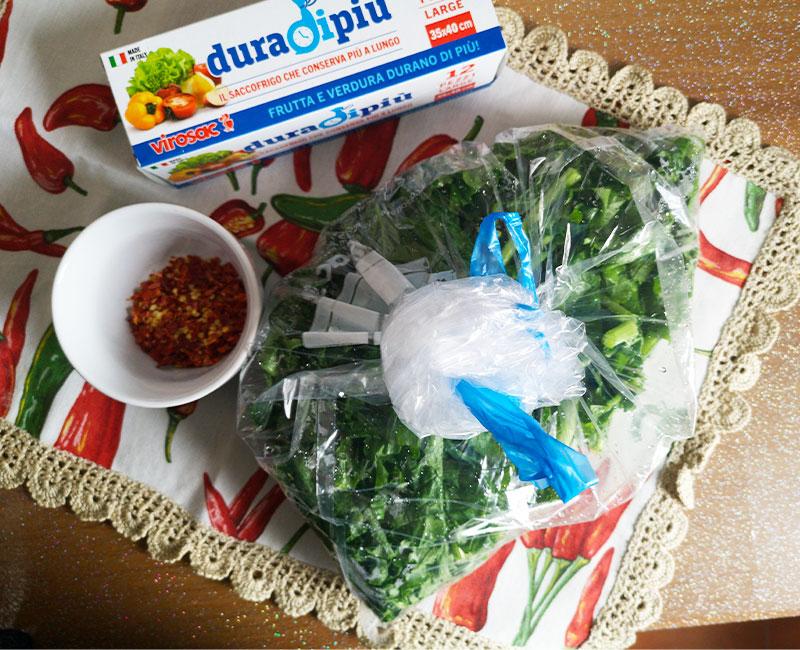 buffet autunnale di antipasti virosac magazine ricetta cime di rapa peperoncino sacchetto conservazione frigo duradipiu