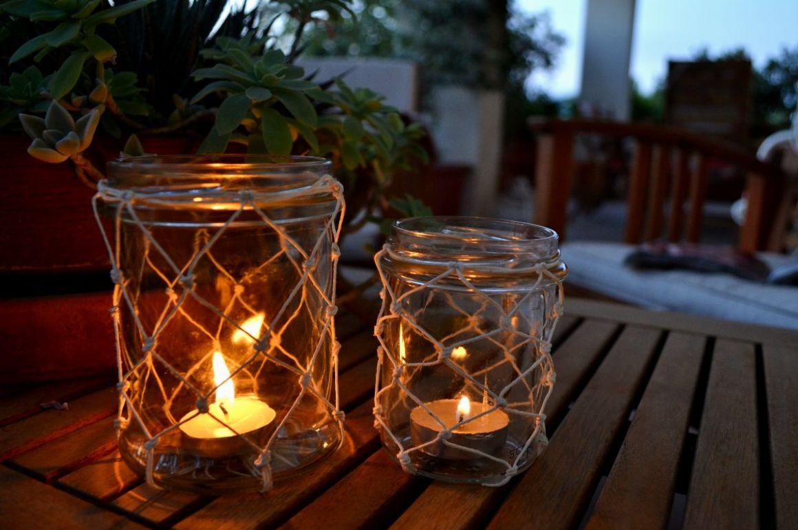 lanterne con boccali di vetro green