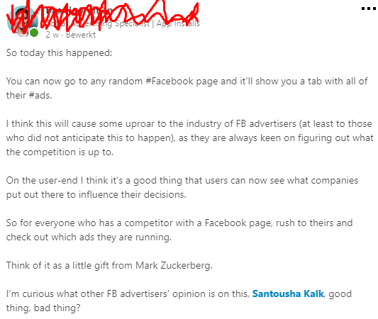 LinkedIn bericht over Facebook Ads