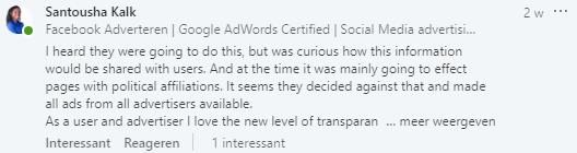 Reactie op LinkedIn