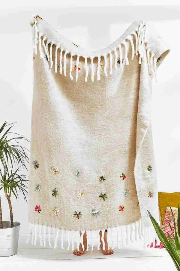 embellished flower throw urban outfitters