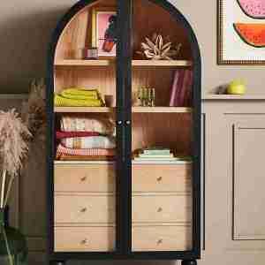 fern cabinet anthropologie wood glass doors curiosity cabinet