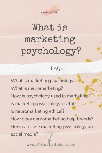 Text graphic with title What is marketing psychology plus list of main questions or FAQS