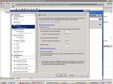 microsoft windows 2008 hyper-v manager processor setting