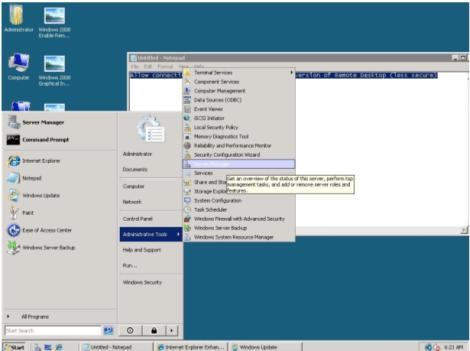 microsoft windows 2008 start Windows Server Manager