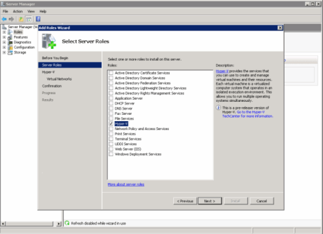 windows 2008 adding hyper-v role