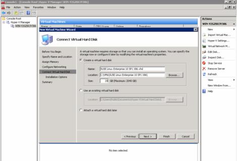 windows 2008 hyper-v manager create virtual harddisk