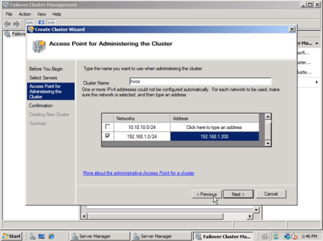 windows 2008 cluster ip and name
