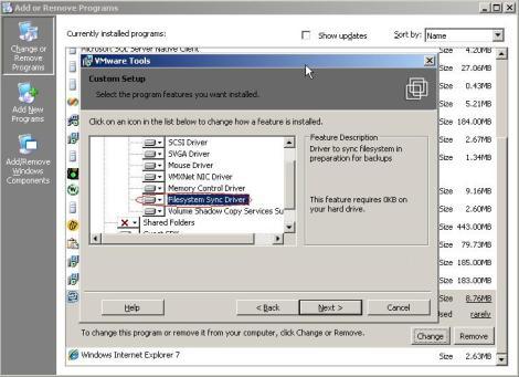 VMware tools filesystem sync driver