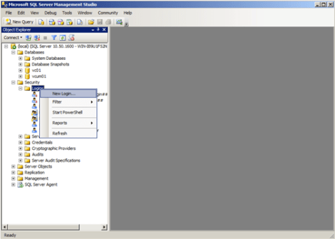 Create SQL Database account for vCenter