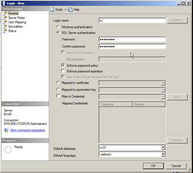 Ensure to use SQL Server Authenication for vCenter DB user