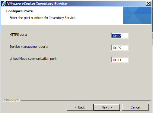 Configure Network ports for vCenter 5.1 Inventory Service