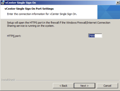 Enter the port to be used by the vCenter Single Sign On Service