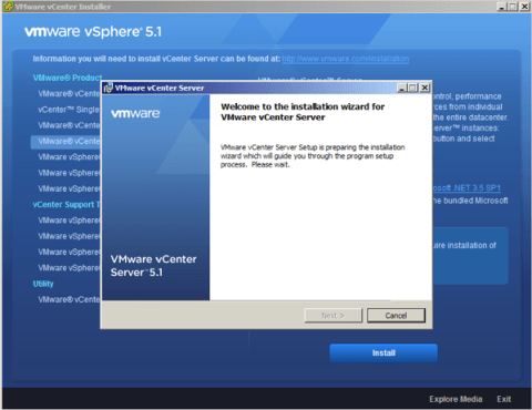 Wait for VMware vCenter Server 5.1 installation process to begin