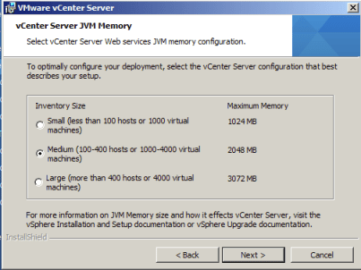 vCenter Server JVM Memory Size