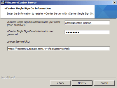 vCenter Single Sign On Information