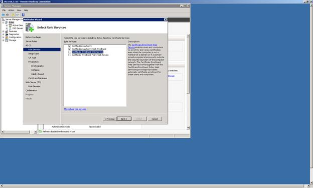 Install Microsoft CA Role Services