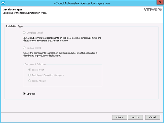vCAC 6.1 Upgrade Wizard