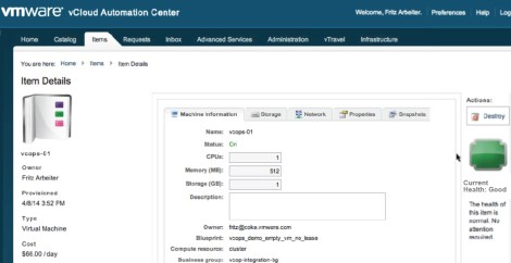 vRealize Automation & vRealize Operations integrations showing VMs Health