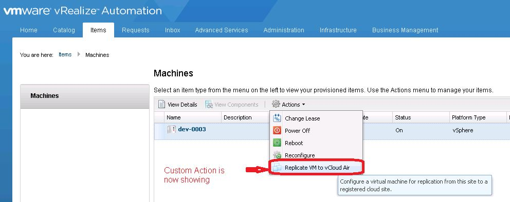 vRealize Automation Custom Actions are working again
