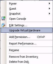 Upgrade Virtual Machine Hardware