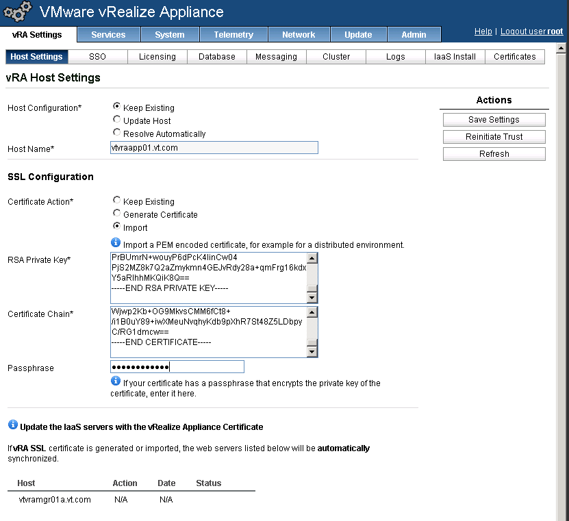 vRA Appliance Certificate Replacement