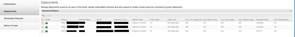 vRA Reclamanation Screen vROPs integration