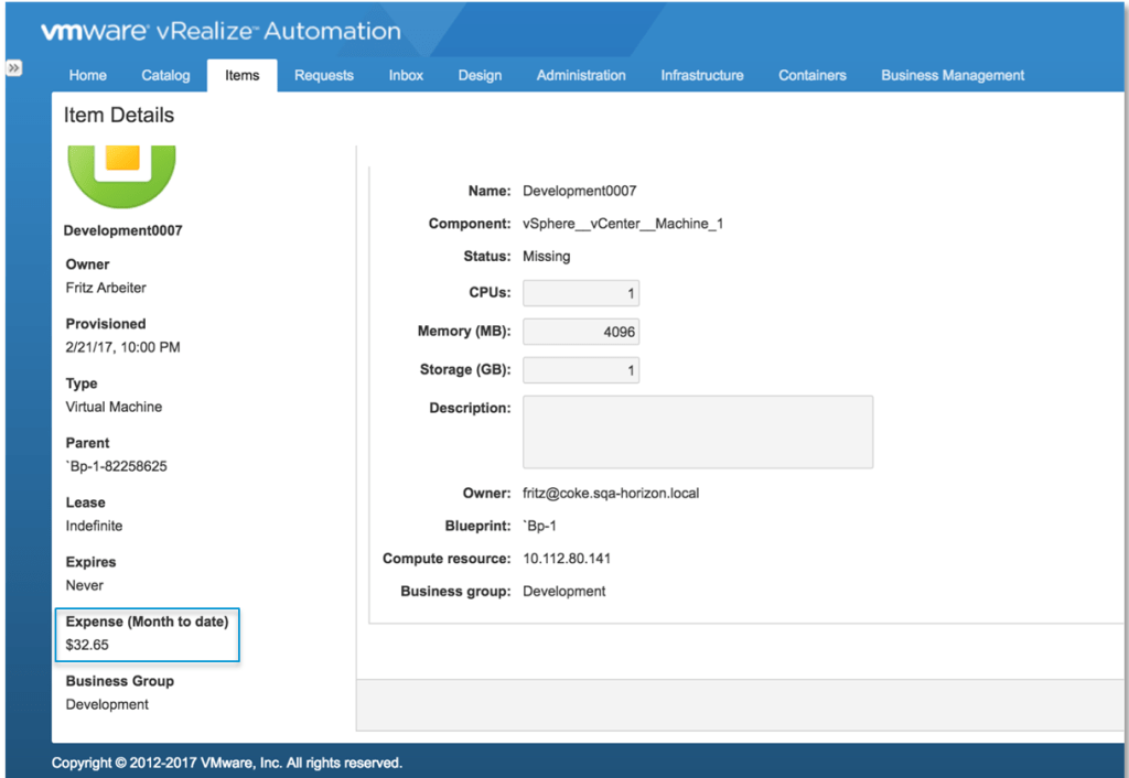Enhanced vRA vRealize Business Integration