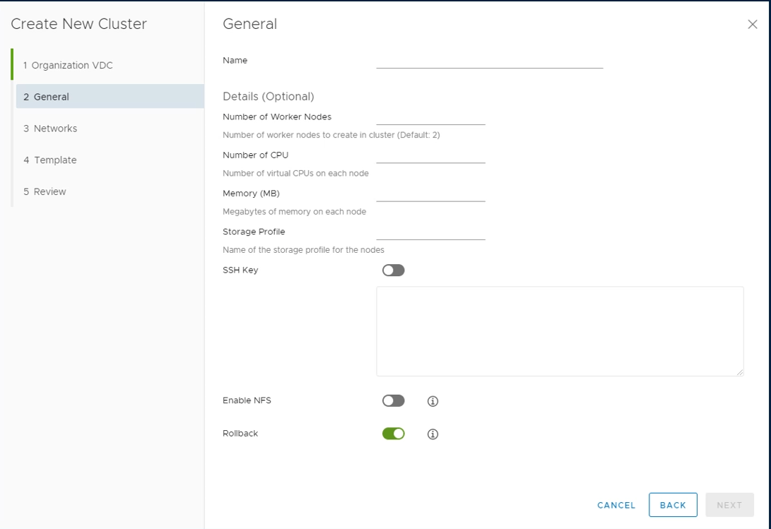 Container Service Extension Create New Cluster