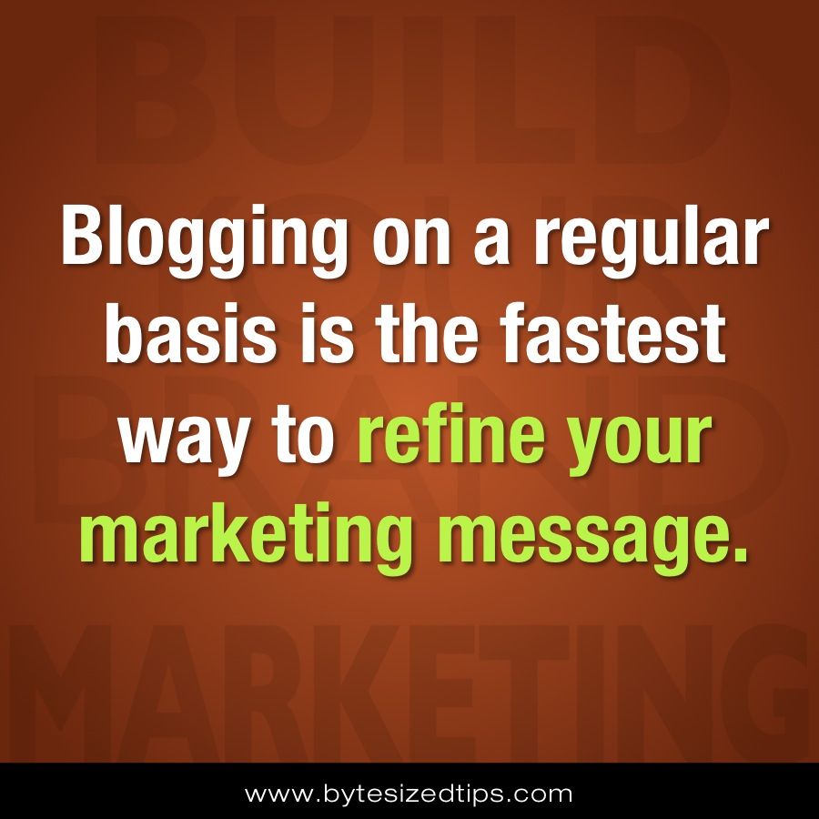 Blogging on a regular basis is the fastest way to refine your marketing message.