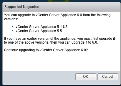 2 vCSA Upgrade - Supported Upgrades