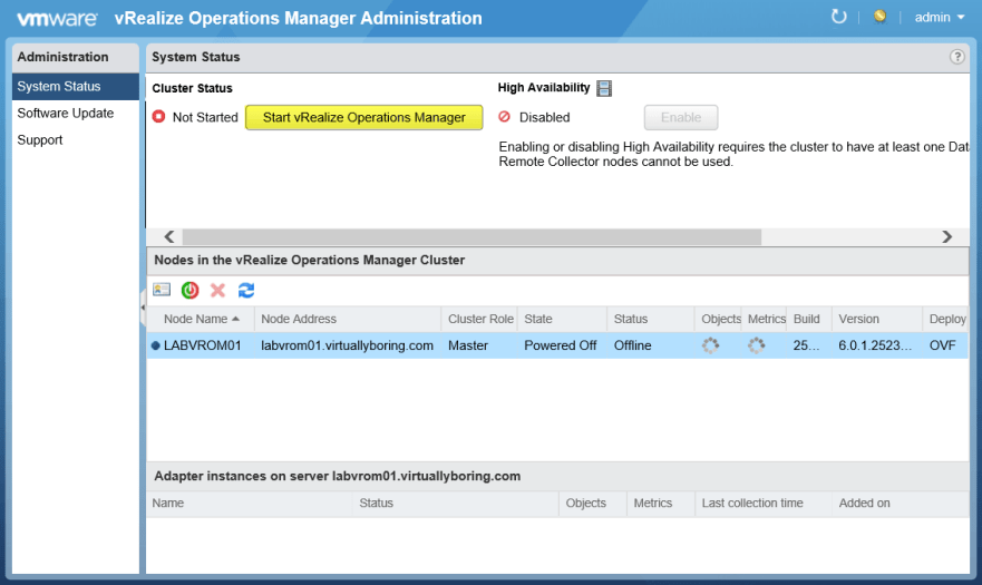 Deployment of VMware vRealize Operations Manager