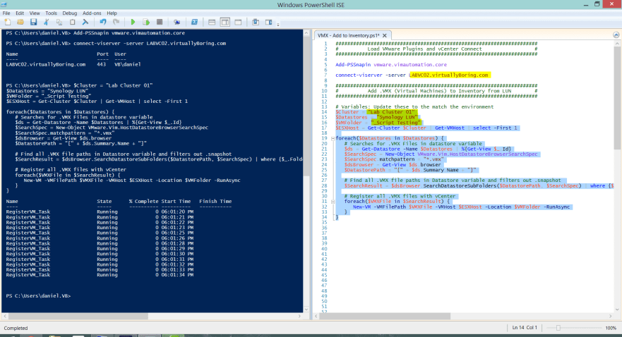 2 VMX Powershell Script - Code in ICE ran