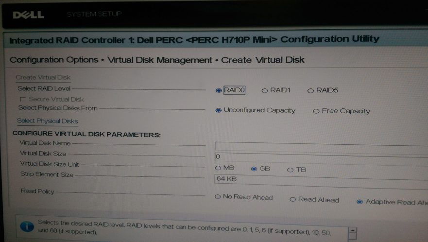 H710P - Create RAID0 - 01