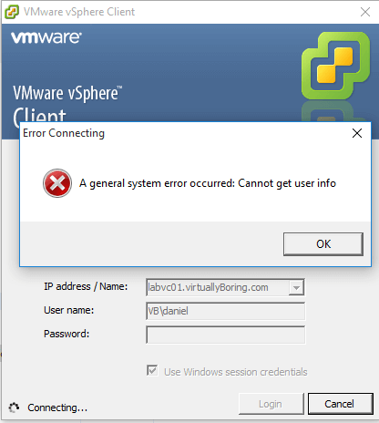 1 VCSA 6 - Cannot get user info Error