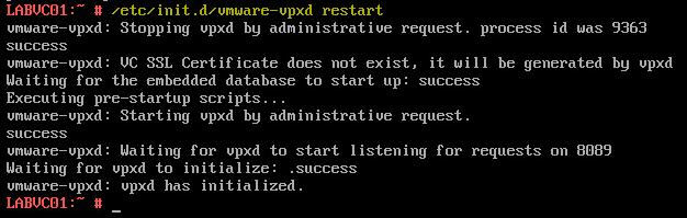 8 VCSA 6 - User Info Error - Restart VPXD