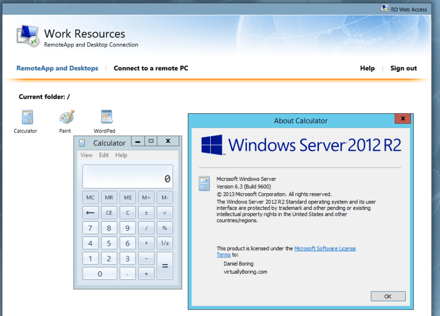 18 Remote Desktop Service - Calculator