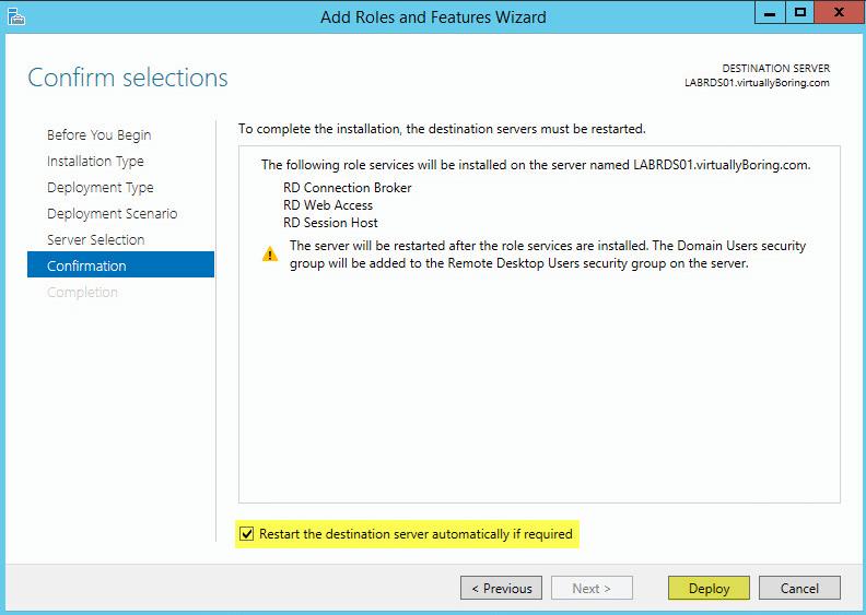 6 Remote Desktop Service - Confirmation