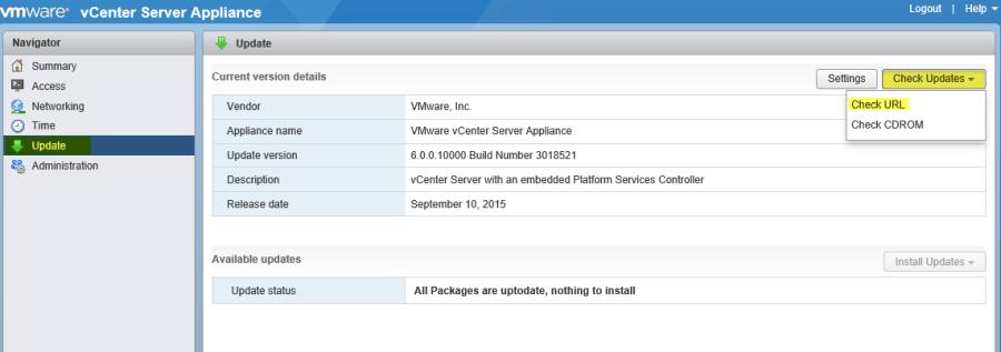 VCSA MUI 11 - Update via the web