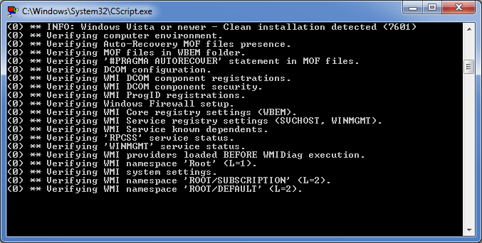WMIDiag - Script Running