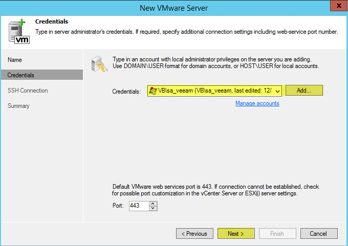 Veeam Backup 13 - vCenter Credentials