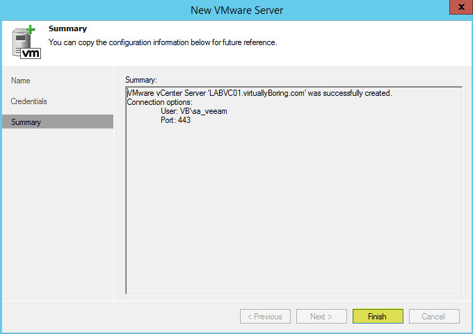 Veeam Backup 14 - vCenter Summary