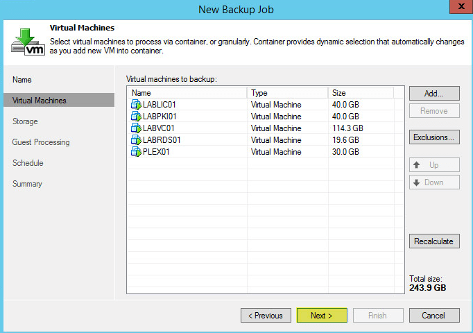 Veeam Backup 18.2 - Backup Job VM List