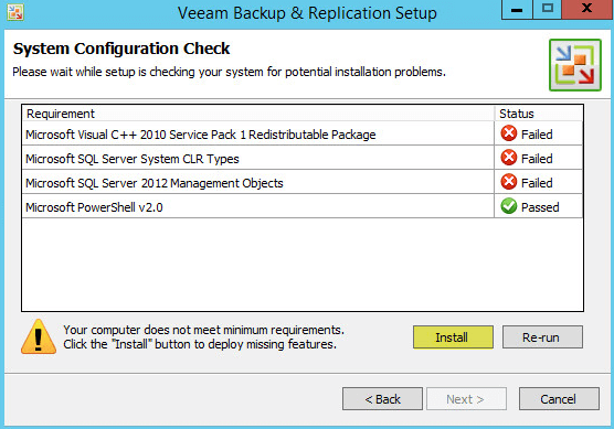 Veeam Backup 7 - Failed System Configuration Check
