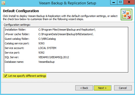 Veeam Backup 8 - Default Configuration