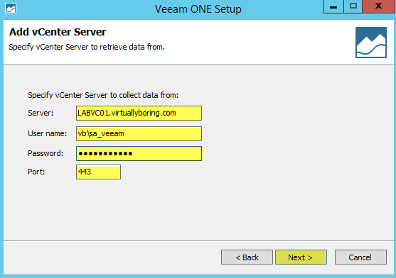 Veeam ONE 11-1 - Add vCenter Server