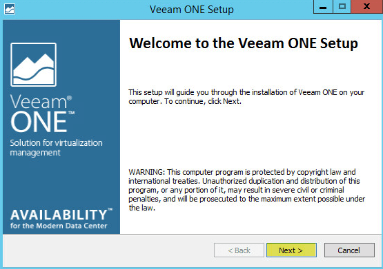 Veeam ONE 2 - Install Welcome