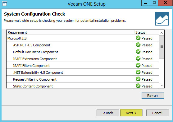 Veeam ONE 7-2 - System Configuration Check Passed