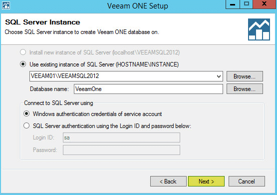 Veeam ONE 8 - SQL Server Instance