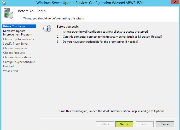 WSUS Config 2 - Before you Begin